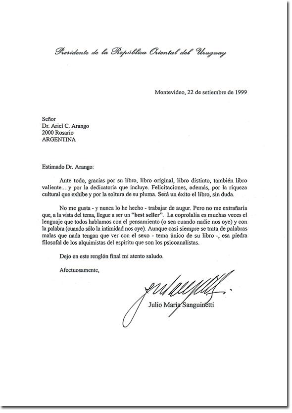 """Carta de Julio María Sanguinetti, presidente de la República Oriental del Uruguay, a Ariel C. Arango, sobre su libro """"Las malas palabras"""""""