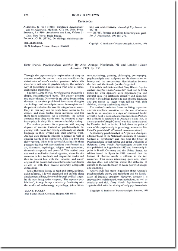 """Review of """"Dirty Words"""" in The International Review of Psycho-Analysis"""